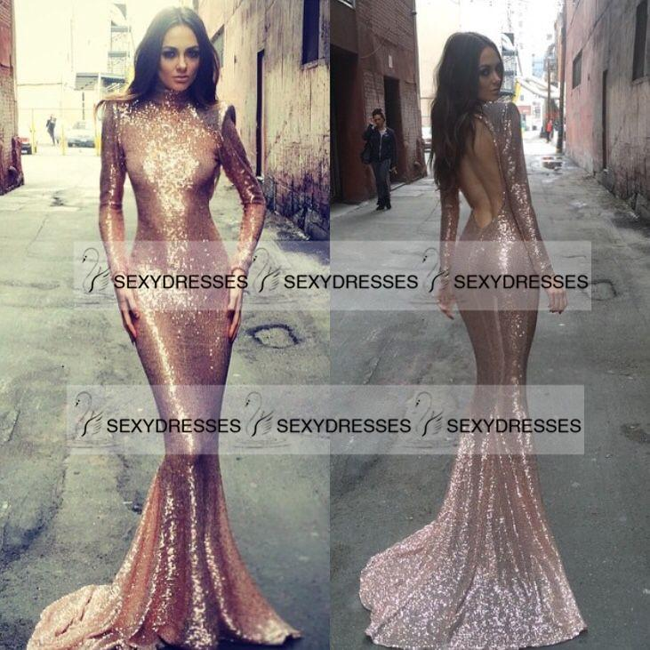 Beautiful Glitter Prom Dress 2016 New Rose Gold Sequins High Neck ...