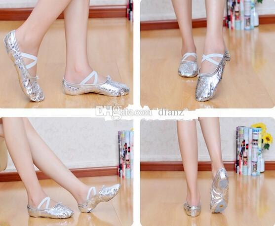 ballet shoes. fashion hot gold silver size23~44 children soft sole girls ballet shoes women dance for kids adult ladies