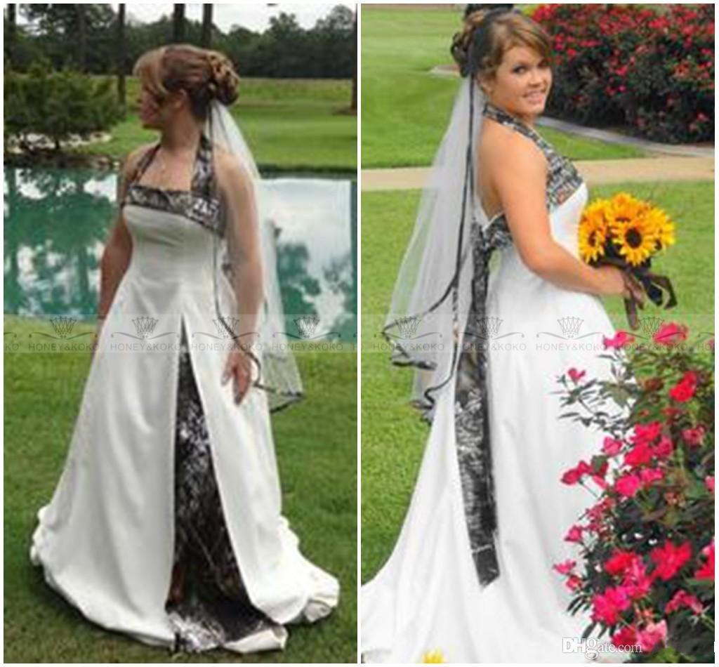 Halter Camo Wedding Dresses 2015 Plus Size y Backless A