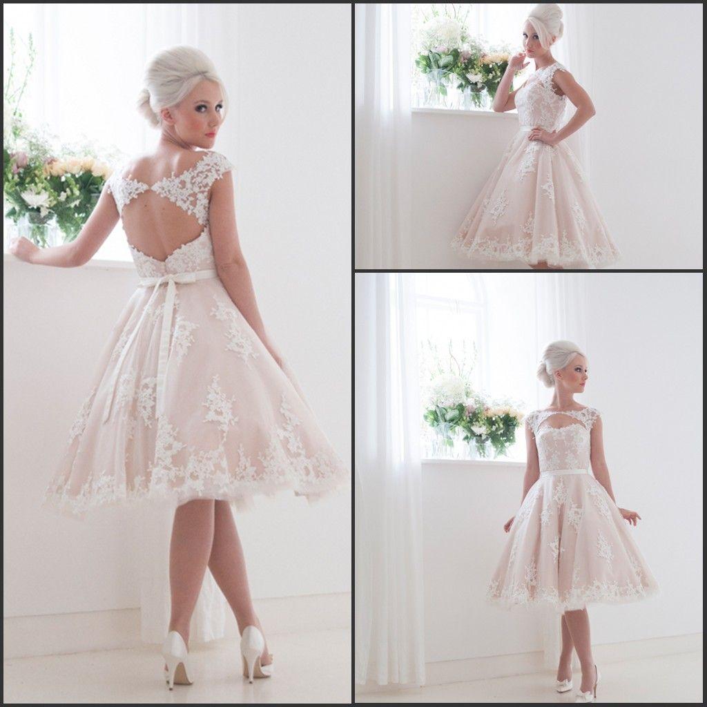 2016 Short Lace Wedding Dresses Keyhole Back A Line Knee