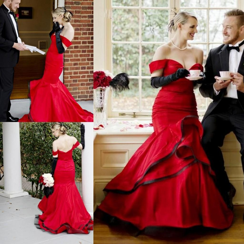 Black gloves evening wear - Sexy Backless Red And Black Mermaid Evening Dresses 2016 Off Shoulder Tiered Layered Prom Dresses Long Party Dress Arabic Gowns Free Gloves