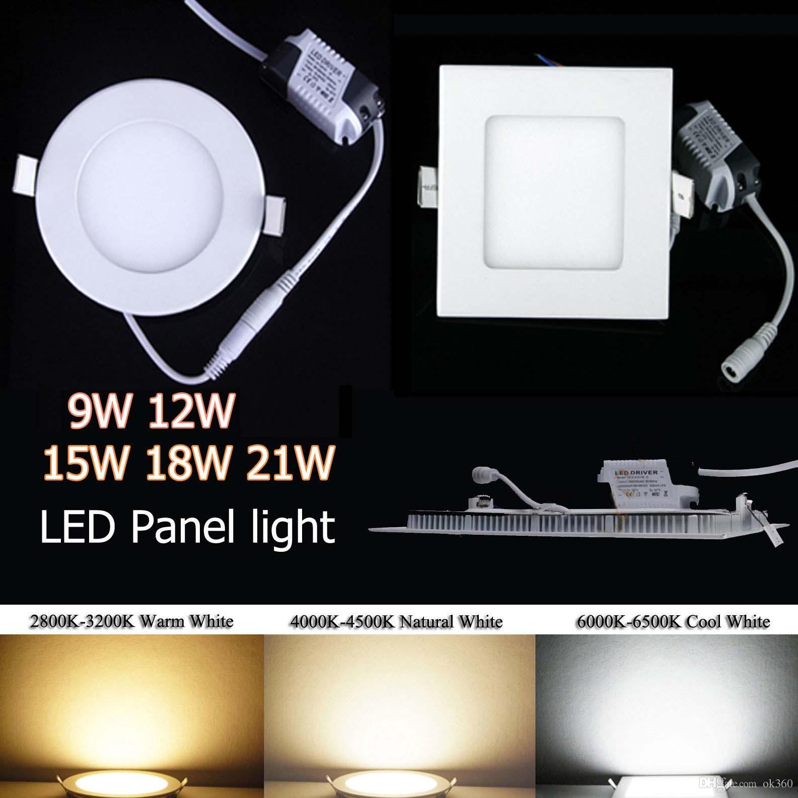 Super Mince Dimmable SMD2835 les Voyants de LED 9W 12W 15W 18W 21W Chaud/Nature/