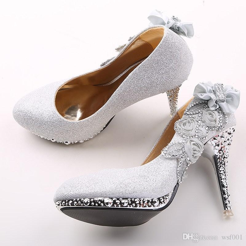 silver with beaded applique wedding shoes 2015 10cm high