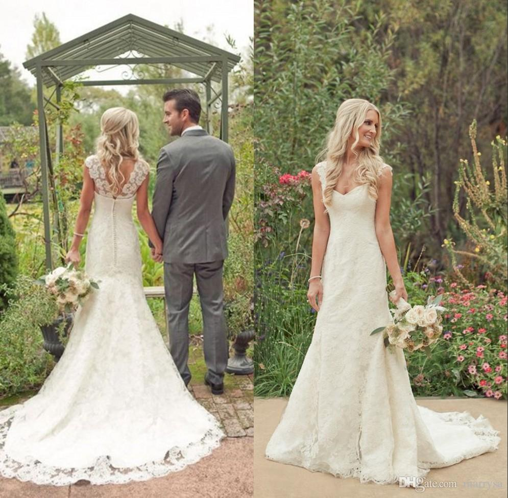 2015 cheap vintage wedding dresses lace backless for Cheap vintage style wedding dresses