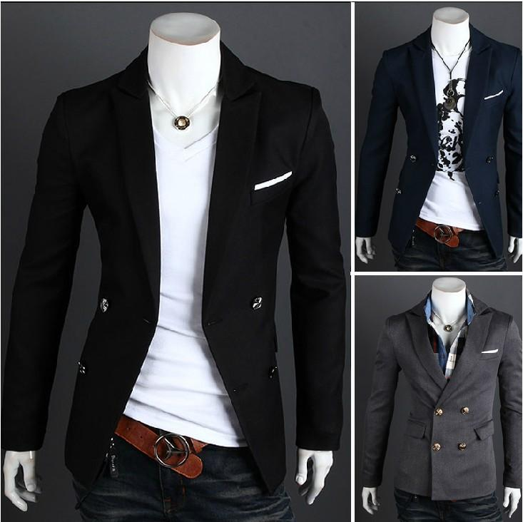 2017 2015 New Fashion Mens Casual Clothes Slim Fit Stylish Suit Blazer Coats Jackets Black Navy