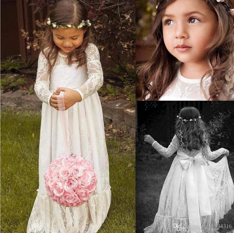 Sheer Lace Neck Flower Girl Dresses Long Sleeve Floor Length ...
