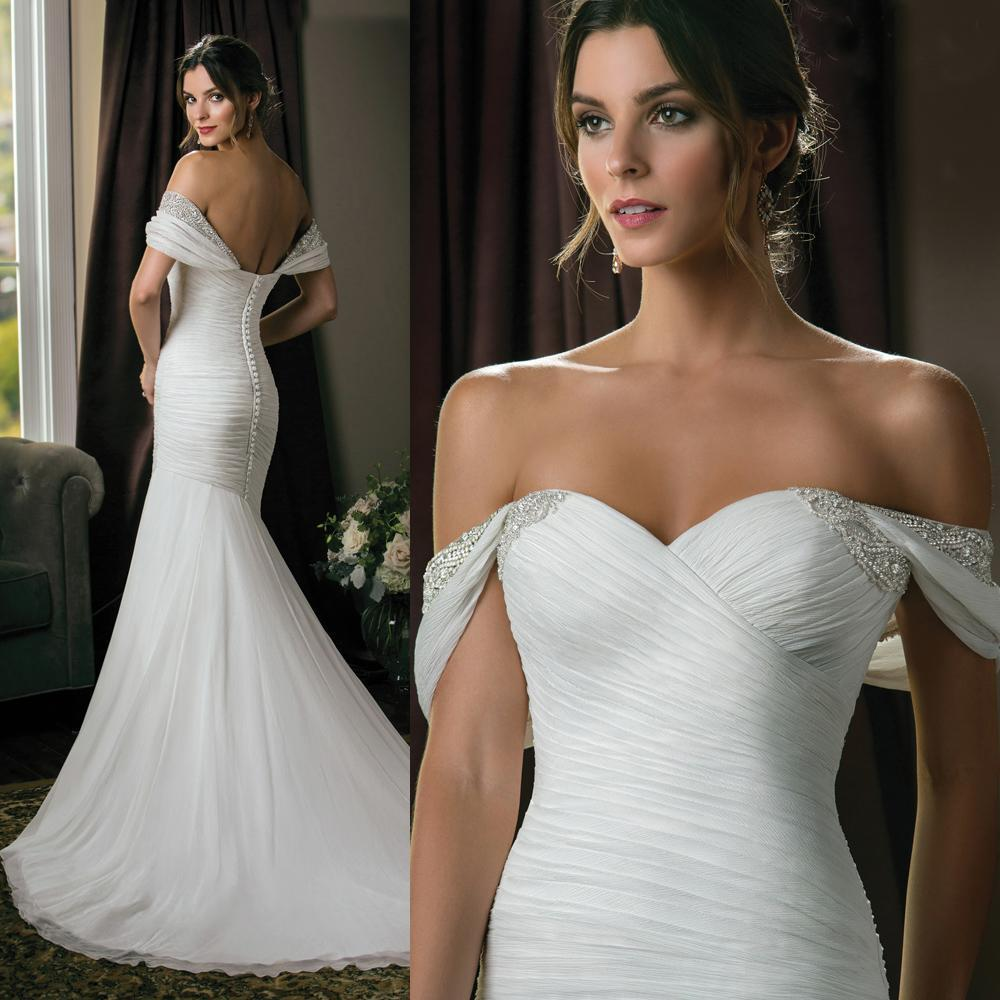 High end mermaid wedding dresses off shoulder pleats beads for High end designer wedding dresses
