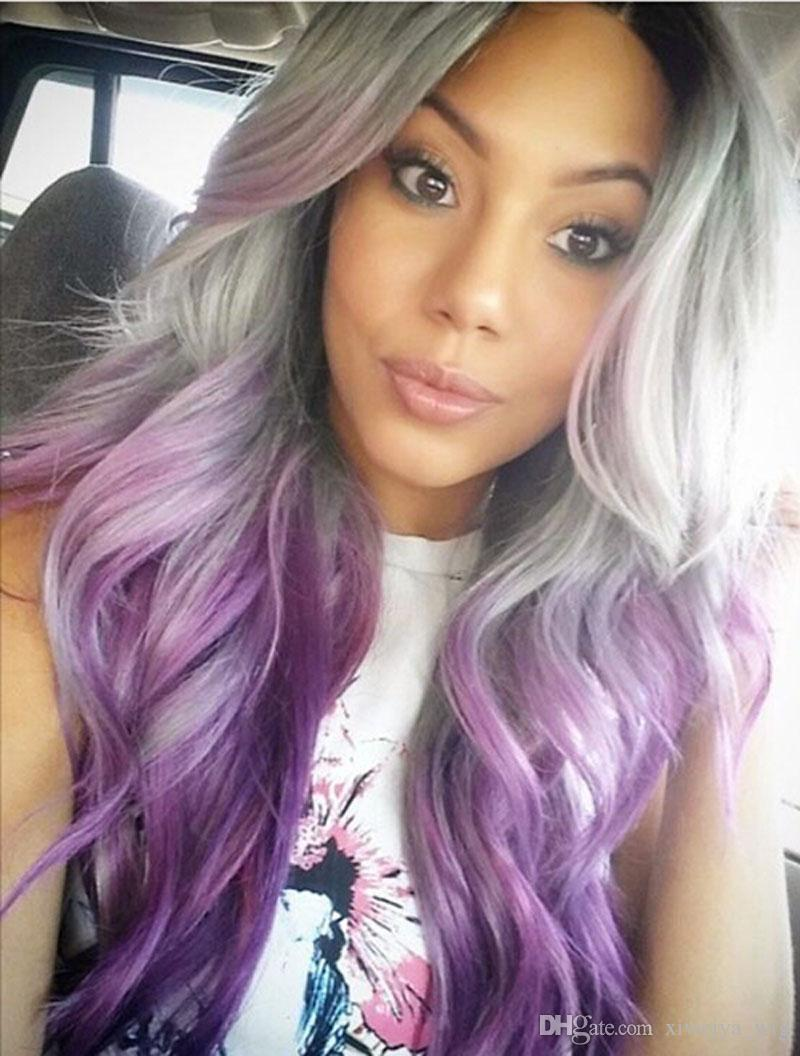 Black gray purple 3t ombre lace front wig synthetic body wave wigs