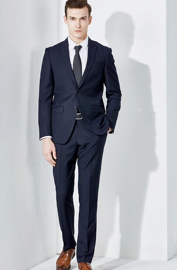 Simple Dark Blue Suit Men's Suits Formal Dress Men's Fashion