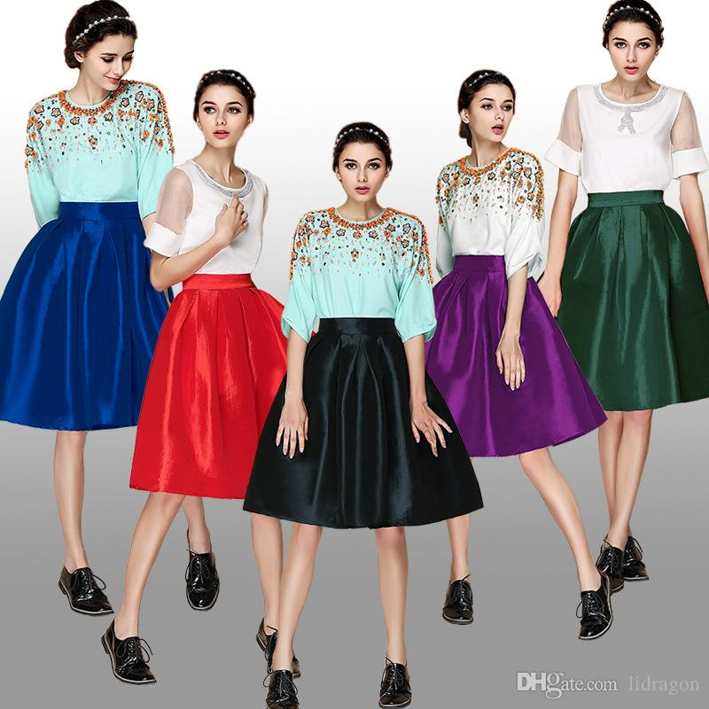 2017 2015 Hot Ladies Vintage Pleated Midi Skirt Tropical A Line ...