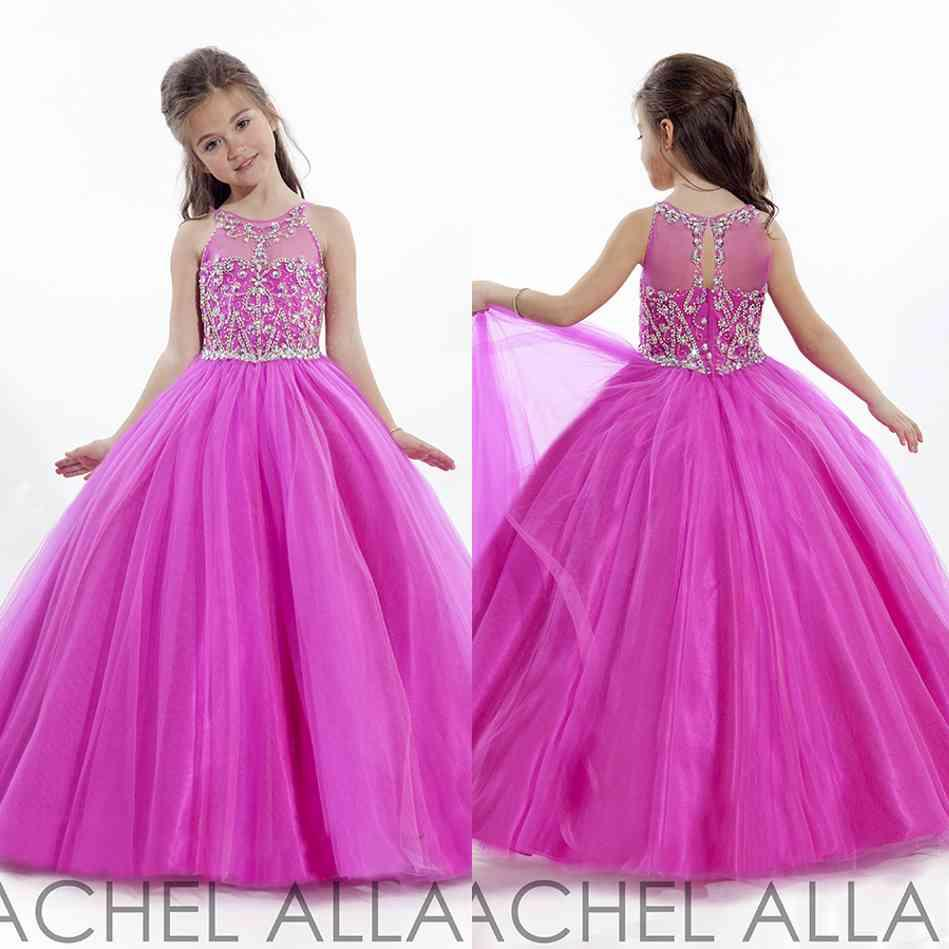 2016 Girls Pageant Dresses Charming Sheer Neck Tulle With Beaded ...