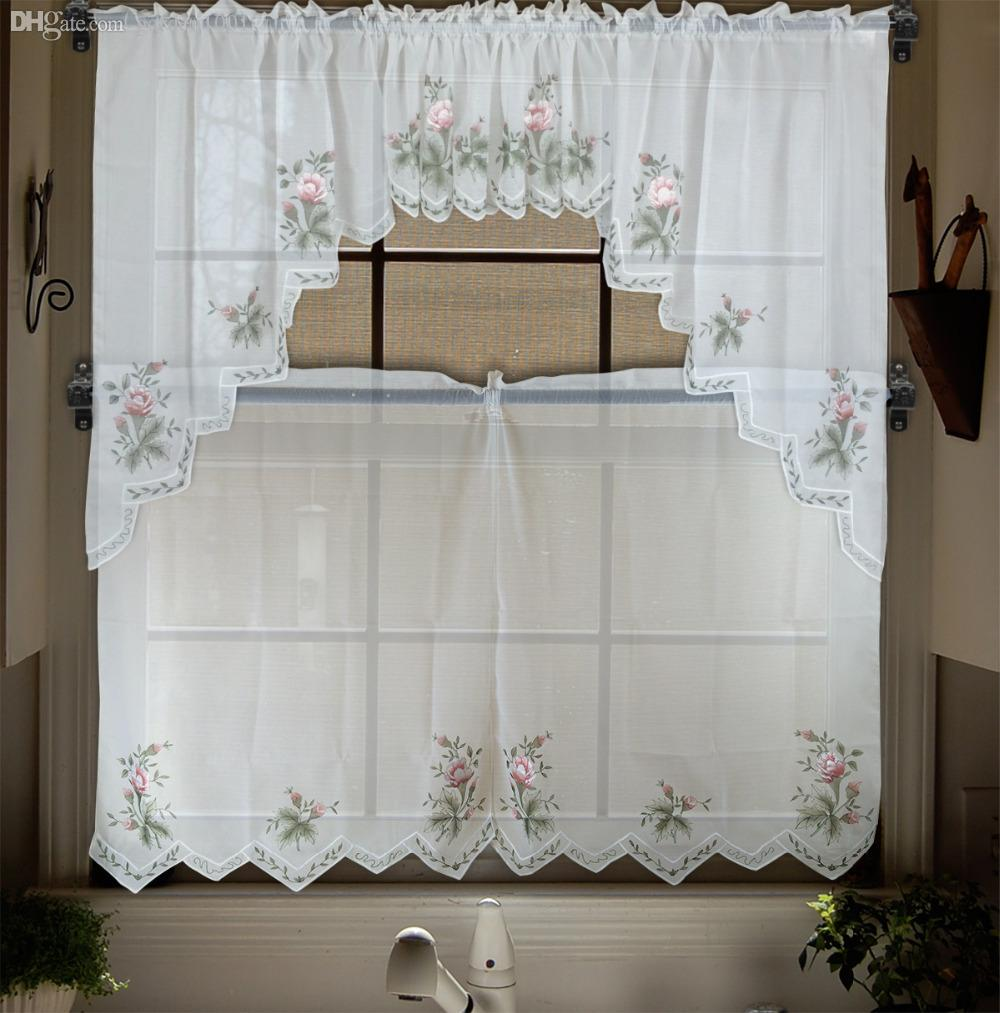 embroidery valance sheer short tulle window curtains for. Black Bedroom Furniture Sets. Home Design Ideas