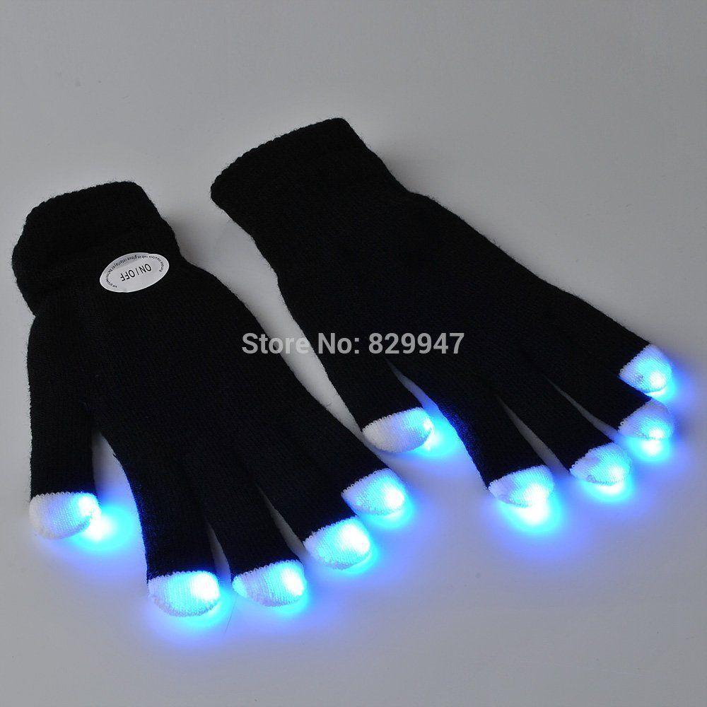 Black light gloves - Wholesale Free Shipping_led Light Up Gloves For Party Multi Color Led Flashing Gloves Gloves With Led Lights For Dancing Glove Peeler Light Up Shoes