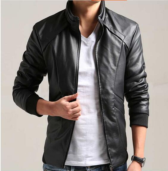 2015 New Men Leather Jacket Slim Collar Coat PU Leather Fashion ...
