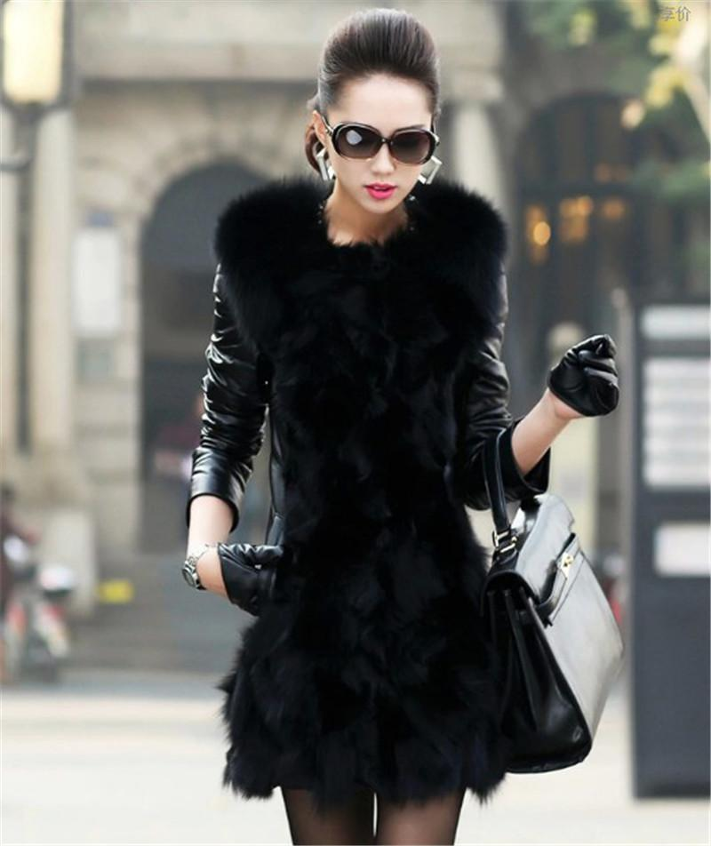 In Stock New Womens Long Faux Fox Fur Winter Coat Leather Sleeve ...