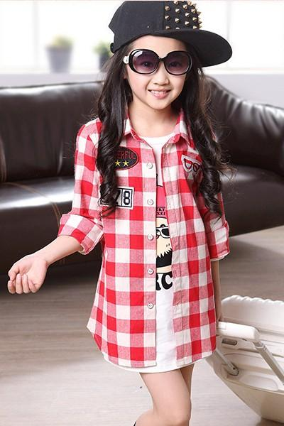 2015 Spring Girls T-shirt Girls Plaid Shirt Girls Long Sleeve ...