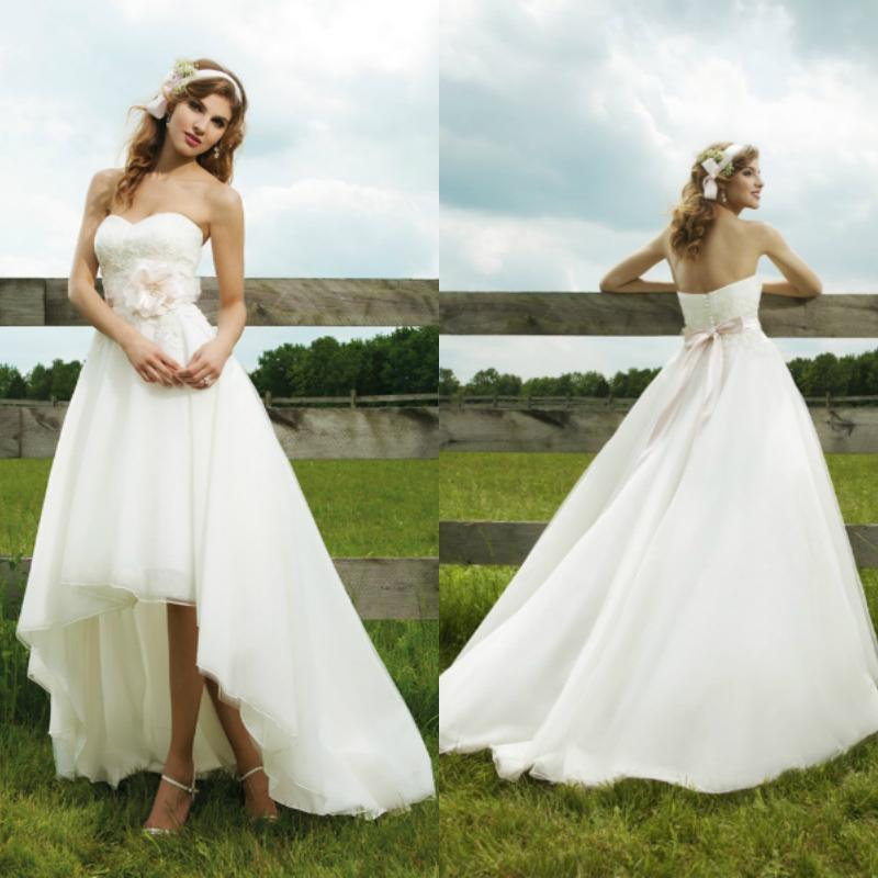 Country Western High Low Wedding Dresses Sweetheart