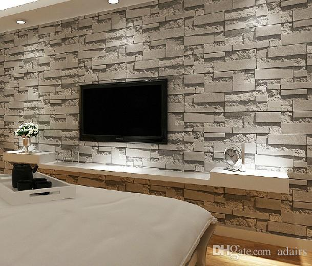 Stacked brick 3d stone wallpaper modern wallcovering pvc for 3d stone wallpaper for walls