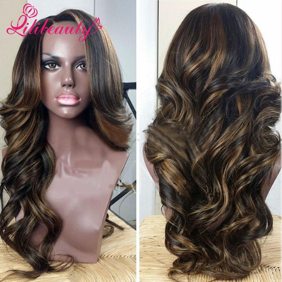 Peruvian Wavy Hairstyles Body Wave Lace Wig Peruvian Wavy Full Lace Wigs Highlight Color 1b