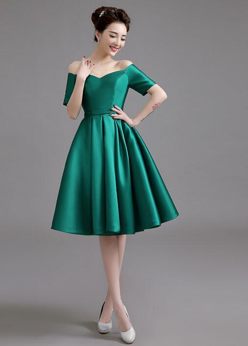 off shoulder green cocktail dress with short sleeves lace up back satin knee length prom party. Black Bedroom Furniture Sets. Home Design Ideas