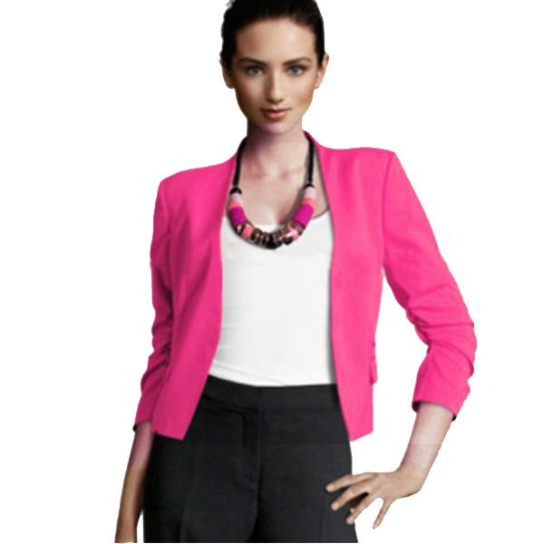 Women Slim Puff Sleeve Buttonless Short Blazer Suit Jacket Coat ...
