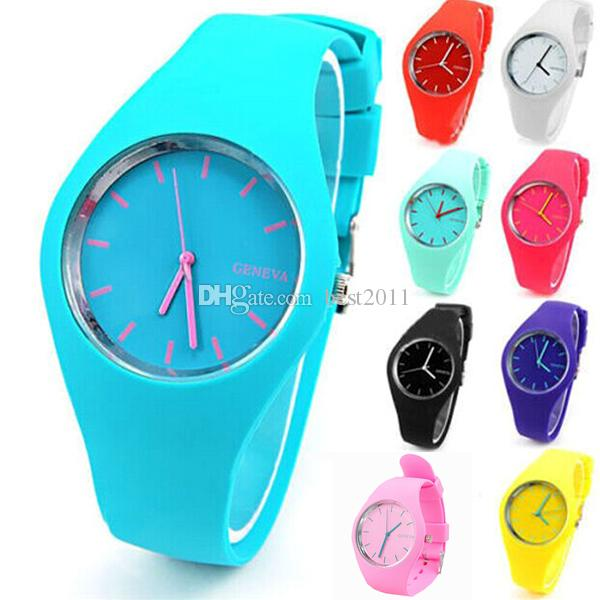 hot sale geneva silicone watch analog unisex casual watches candy color men women sports wrist watches - Color Watches