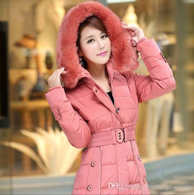 2016 Fashion Slim Women Winter Coat Fashion Raccoon Fur Collar ...