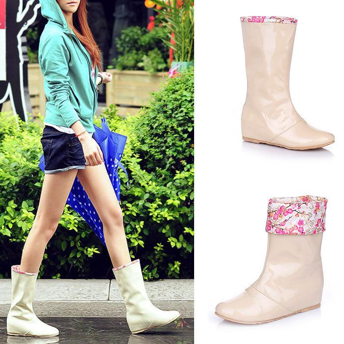 New 2014 Women Rain Boots Candy Color Floral Mixed Female Rainboot ...