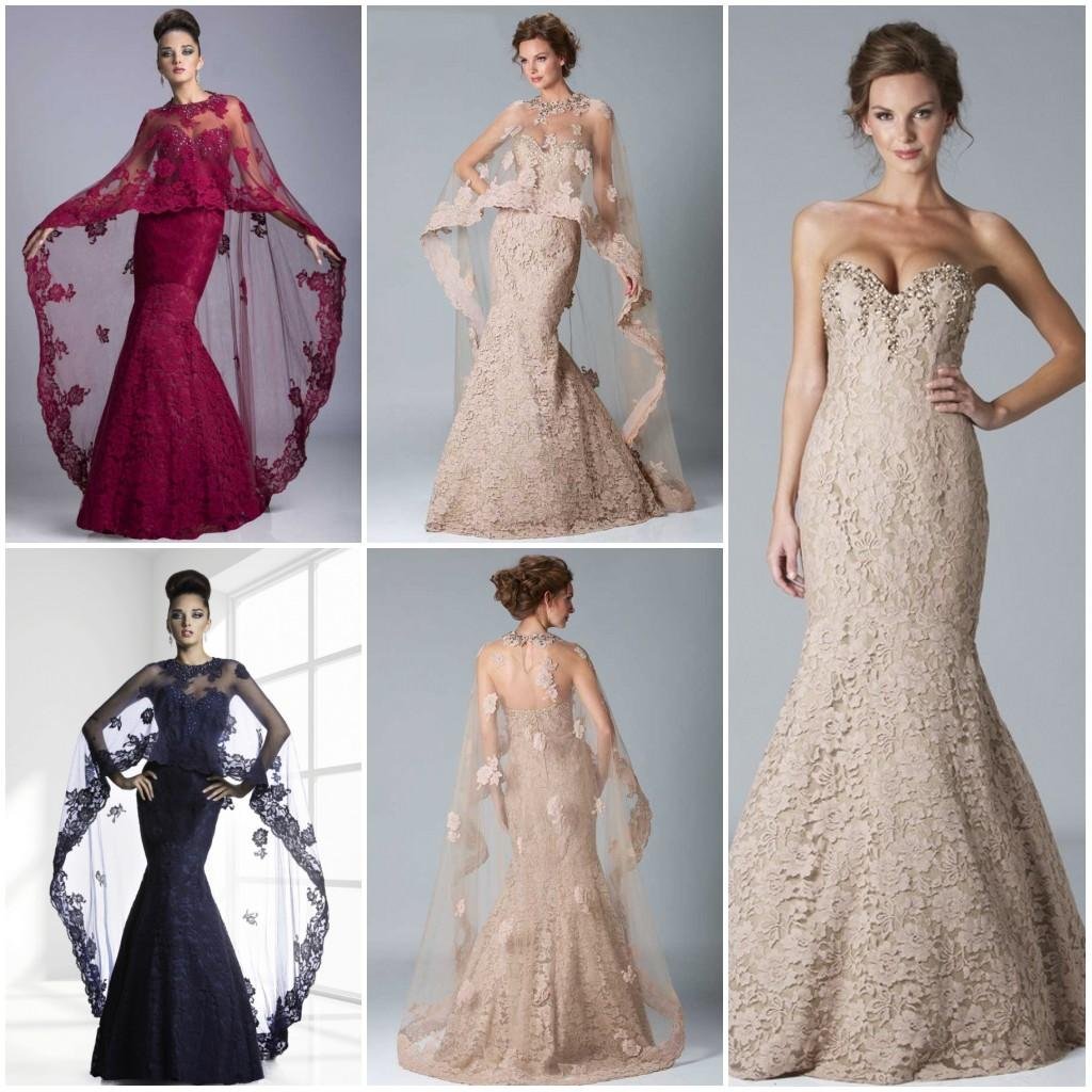 Elegant Lace Evening Dresses 2015 With Sheer Shawl/Capes Crystal ...