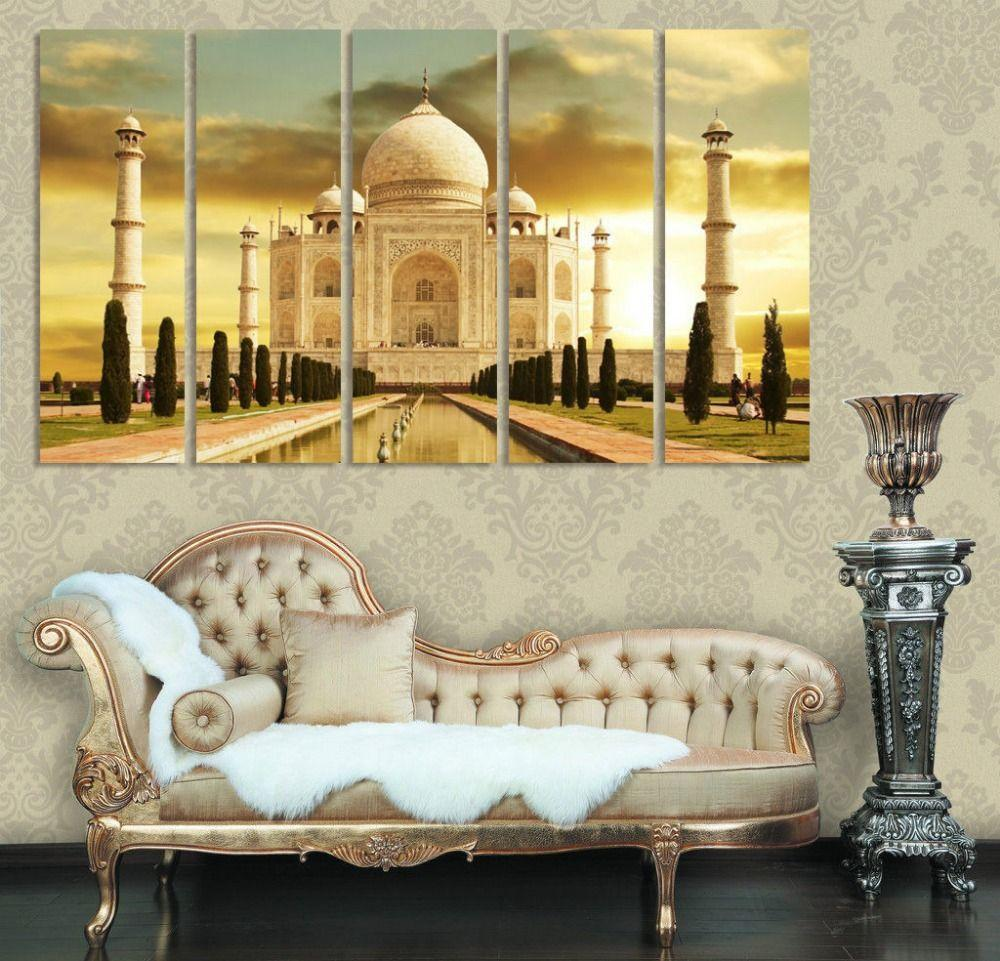 Taj Mahal India Modern Home Decor Canvases Set Of 5 Home Interior