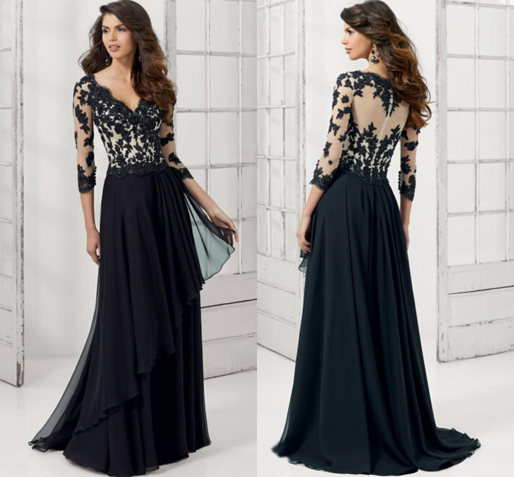 Black evening dress sleeves