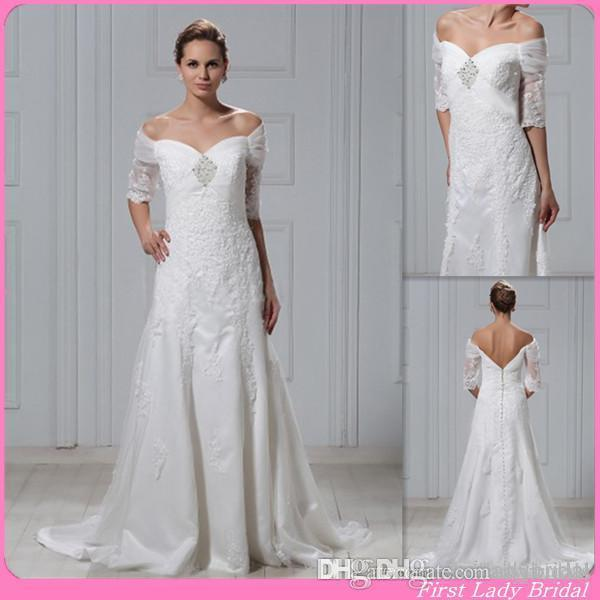 Discount 2015 traditional off the shoulder half sleeves for Hawaiian wedding dresses with sleeves