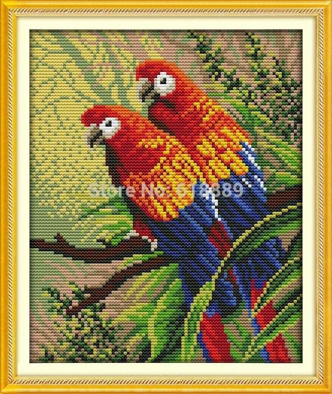 Вышивка крестом два попугая 65