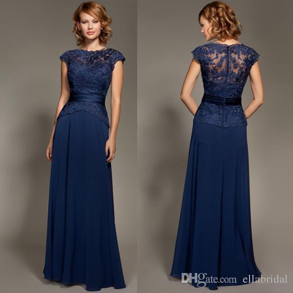 Cheap Navy Blue Bridesmaid Dresses Cap Sleeve Sash Floor Length ...