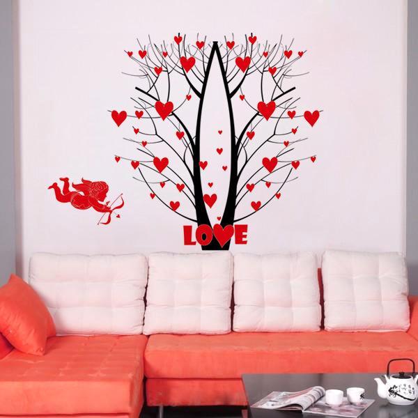 Love Blossom Tree Forest Deers Wall Art Mural Decor Cupid S Arrow Love Wallpaper Decor Poster Wedding Room Bedroom Decoration Sticker