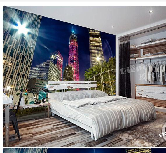Wallpaper city lights lit backdrop rise mural wallpaper for City lights mural