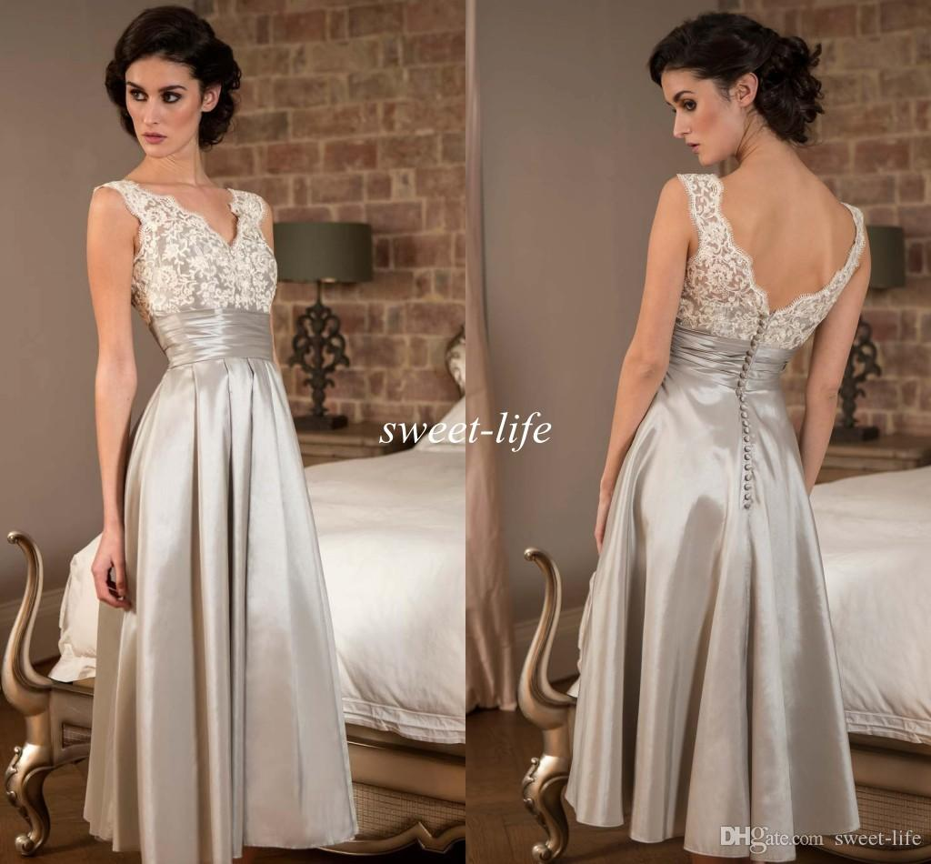 Silver Knee Length Mother of the Bride Dresses 2016 Cheap