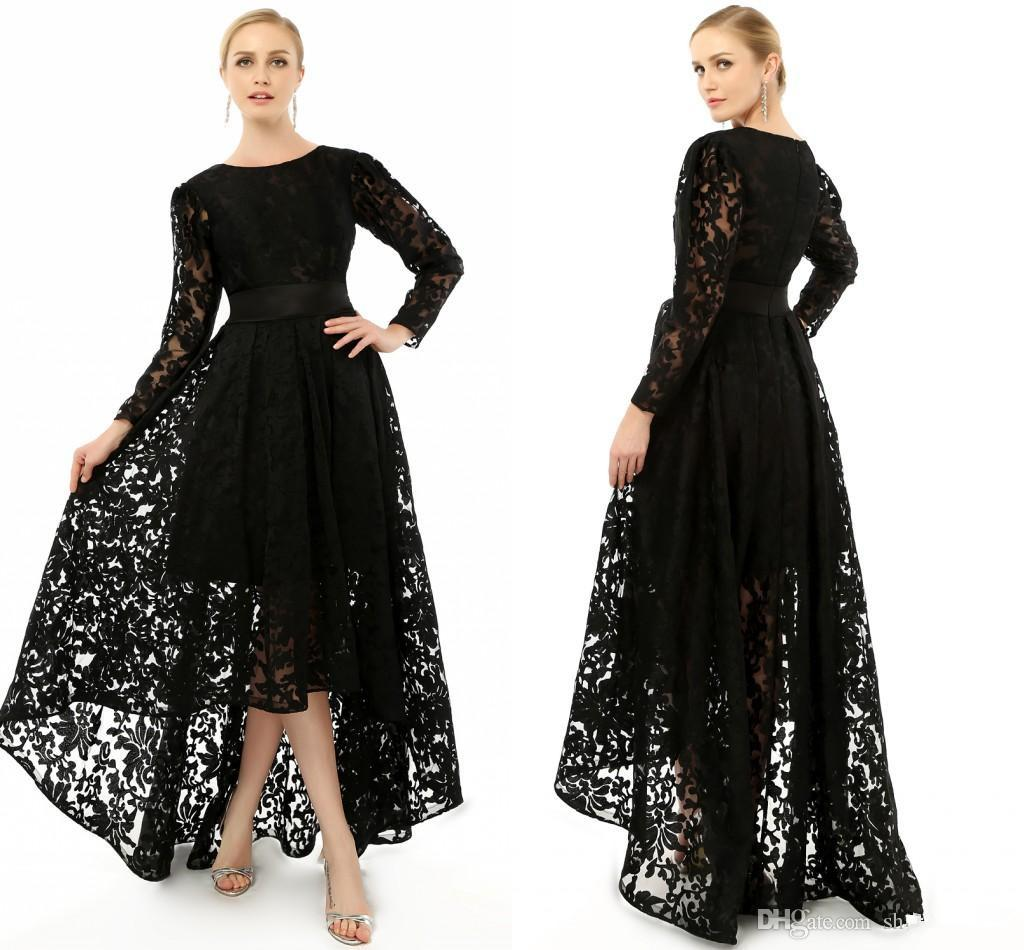 2015 Elegant Black Long Sleeve Plus Size Special Occasion ...