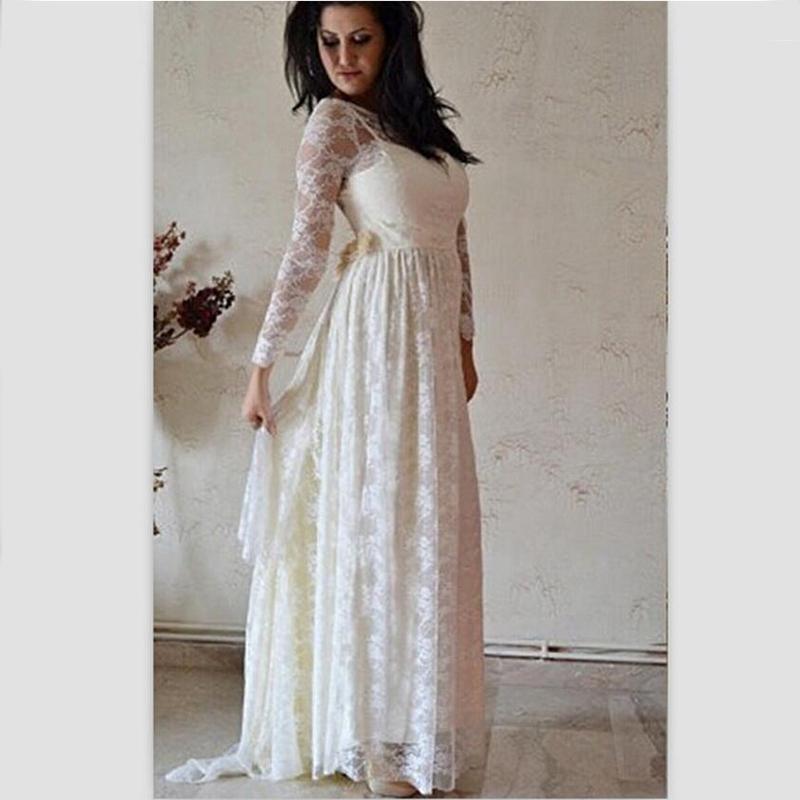 Discount bu simple long sleeves wedding dress maternity for Long sleeve lace maternity wedding dress