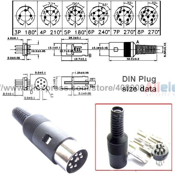5 Qty 6 Pin DIN Male Connectors US Shipping