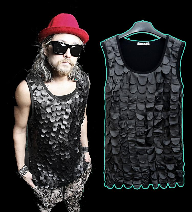 New 2015 summer fish scale fashion pu leather hip hop t for Fish scale shirt