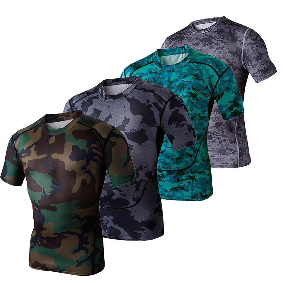 Design your own t shirt military - Arsuxeo Men S Sport T Shirt Camouflage Short Sleeve Tight Elastic Ventilation T Shirts Men