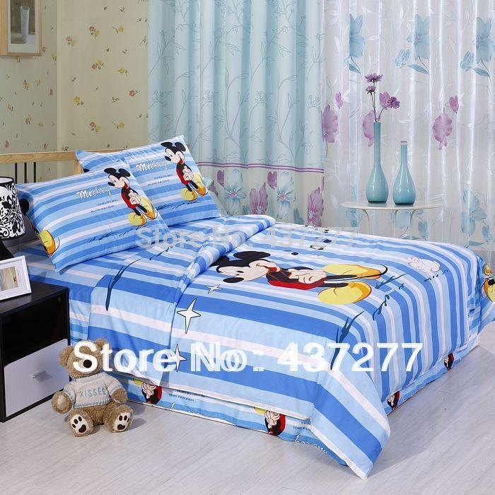 Handsome mickey striped blue bedding sets with star music note printing duvet cover sheet - Music notes comforter ...