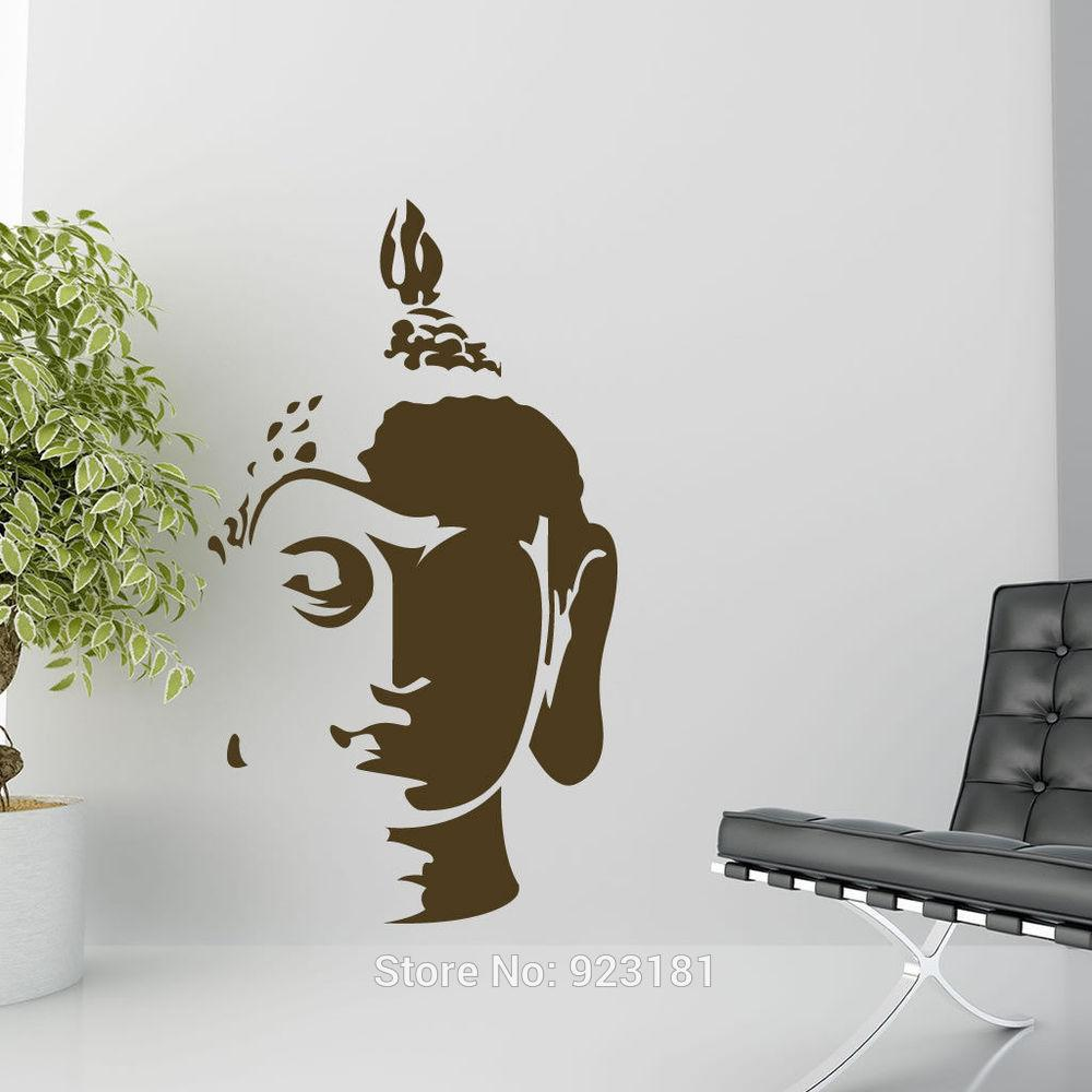 Wall decoration stickers for bedroom - Home Decor Wall Sticker Hot Buddha Head Wall Art Sticker Decal Home Diy Decoration Wall Mural Removable Bedroom Decor Sticker 102x57cm