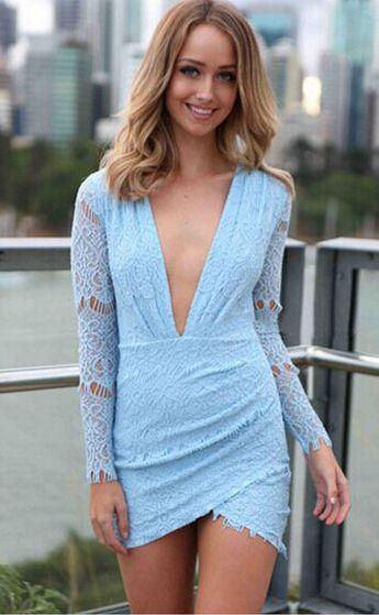 Light blue v neck dress