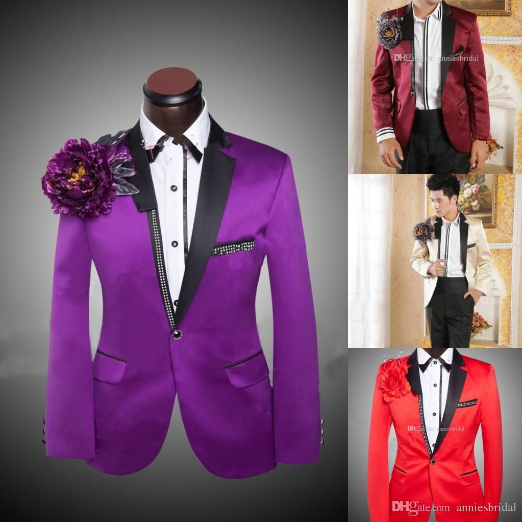 Fashion Mens Suits Purple Cheap Colored Tuxedos for Men Jacket