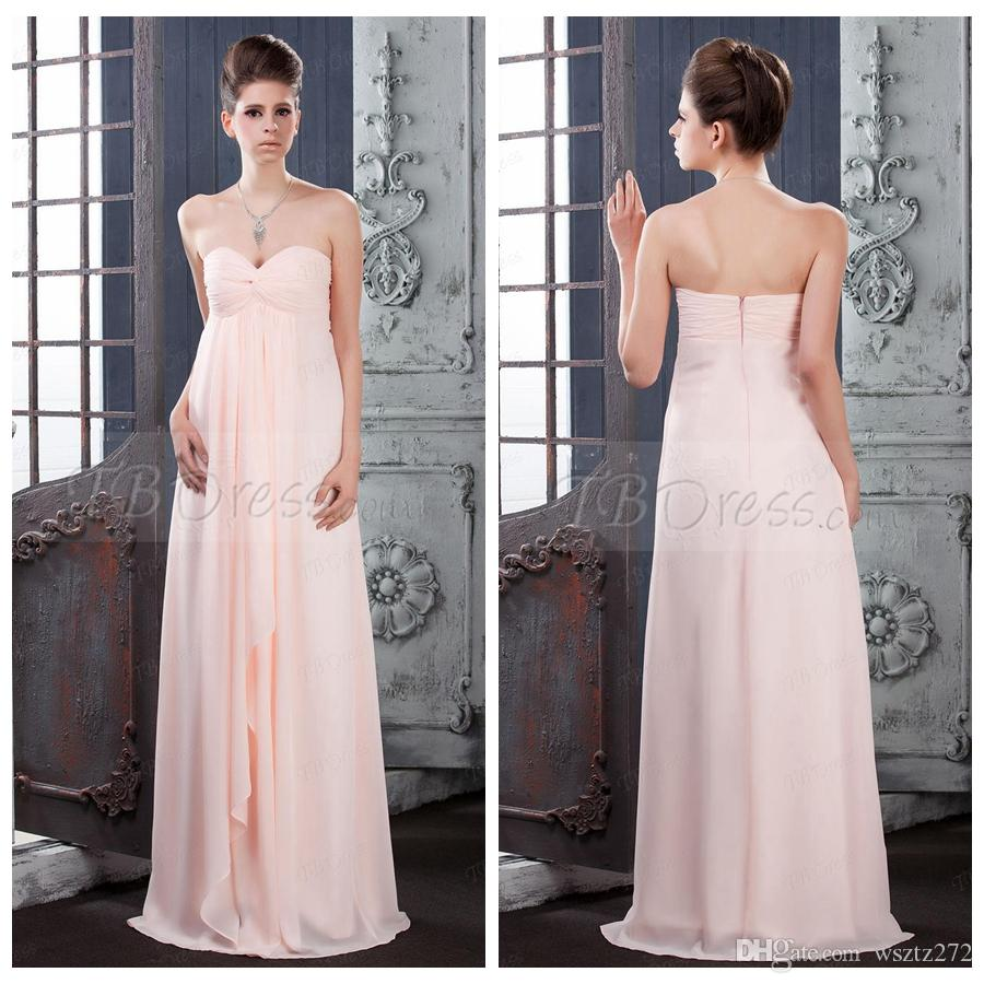 Light Orange Bridesmaid Dress Chiffon Long Maternity