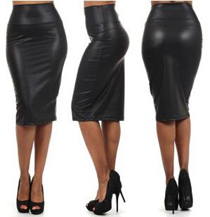 2017 E318 New High Waist Pu A Line Pencil Skirt Faux Leather Black ...