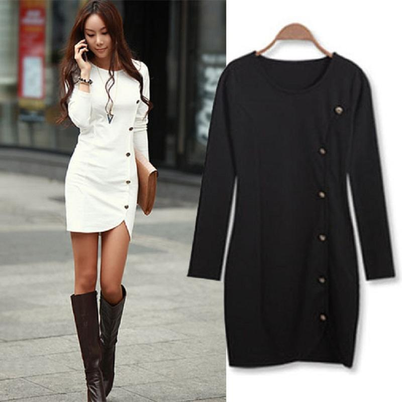 2016 Warm Dress Women Cotton Bottomed Winter Dress Ladies Evening ...