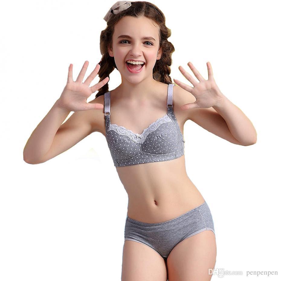 little girls underwear 2set\lot 2016 Puberty Girls Lace Dot Cotton Underwear Set For Teenage Girls girl bra